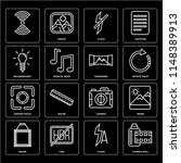 set of 16 icons such as camera...