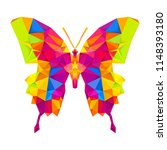 geometric butterfly with many... | Shutterstock .eps vector #1148393180