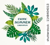 trendy summer tropical leaves... | Shutterstock .eps vector #1148404013