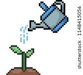 Vector Pixel Art Watering Tree...
