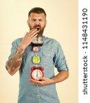 overtime and urgency. sleepy... | Shutterstock . vector #1148431190