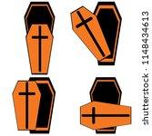 open coffins for halloween. set ... | Shutterstock .eps vector #1148434613