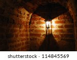 Old Red Bricks Wall And Light...