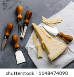 parmesan cheese and knife on...   Shutterstock . vector #1148474090