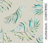 tropical leaves watercolor... | Shutterstock . vector #1148478983