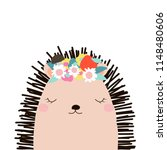 Stock vector cute hedgehog with floral wreath kids graphic vector hand drawn illustration 1148480606