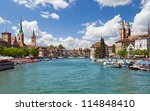 beautiful view of zurich and... | Shutterstock . vector #114848410