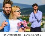 lovers hugs outdoor flirt... | Shutterstock . vector #1148487053