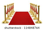 render of gold stanchions and... | Shutterstock . vector #114848764
