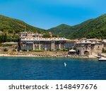 monastery buildings on mount... | Shutterstock . vector #1148497676