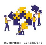 team work with puzzle pieces | Shutterstock .eps vector #1148507846