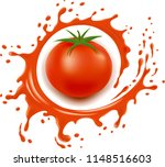 red tomato with splash and many ... | Shutterstock .eps vector #1148516603