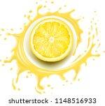 yellow lemon slice with splash... | Shutterstock .eps vector #1148516933