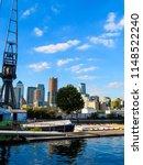 london docklands with vintage... | Shutterstock . vector #1148522240