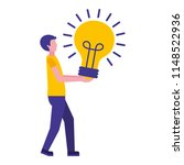 young man with light bulb...   Shutterstock .eps vector #1148522936