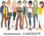 group of cartoon young people.... | Shutterstock .eps vector #1148530379