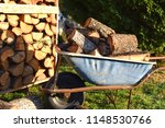wheel barrow full of woods in... | Shutterstock . vector #1148530766