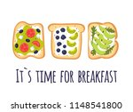 it s time for breakfast. toasts ... | Shutterstock .eps vector #1148541800