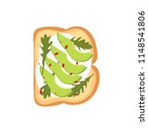 toast with avocado and arugula. ... | Shutterstock .eps vector #1148541806