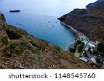 View down to Jamestown, the main town of remote Saint Helena Island from top of Jacobs ladder
