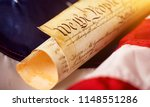 roll of vintage us constitution ... | Shutterstock . vector #1148551286