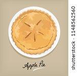 pie apple in plate vector... | Shutterstock .eps vector #1148562560