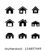 set of 9 house icon variations | Shutterstock .eps vector #114857449