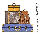 suitcases bags pile isolated... | Shutterstock .eps vector #1148577113