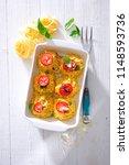 linguine pasta aglio  olio ... | Shutterstock . vector #1148593736