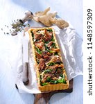 vegetarian tart with fried... | Shutterstock . vector #1148597309