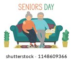 happy senior couple. senior man ... | Shutterstock .eps vector #1148609366