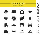 seasonal icons set with ship ...