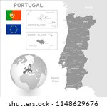 grey vector map of portugal... | Shutterstock .eps vector #1148629676