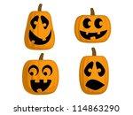 a set of 4 jack o lanterns ... | Shutterstock .eps vector #114863290