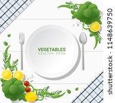 flat lay fresh vegetables on...   Shutterstock .eps vector #1148639750