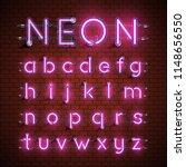 high detailed neon font set ... | Shutterstock .eps vector #1148656550