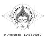 buddha face over ornate mandala ... | Shutterstock .eps vector #1148664050
