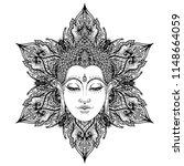buddha face over ornate mandala ... | Shutterstock .eps vector #1148664059