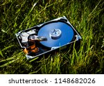 opened hard disk drive on the... | Shutterstock . vector #1148682026