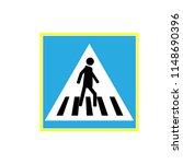 crosswalk sign black in blue... | Shutterstock .eps vector #1148690396