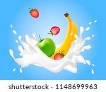 a lot of strawberries  banana... | Shutterstock .eps vector #1148699963