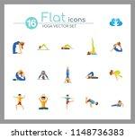yoga icon set. meditation... | Shutterstock .eps vector #1148736383