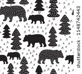 woodland bears seamless pattern ... | Shutterstock .eps vector #1148742443