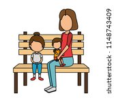 mother with kids in park chair   Shutterstock .eps vector #1148743409