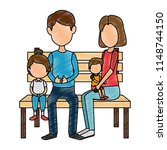 parents couple with kids in the ... | Shutterstock .eps vector #1148744150