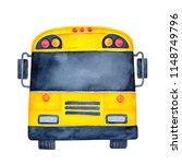 bright yellow stylized city bus ... | Shutterstock . vector #1148749796