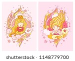 cute little princess with light ... | Shutterstock .eps vector #1148779700