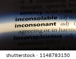 Small photo of inconsonant word in a dictionary. inconsonant concept.