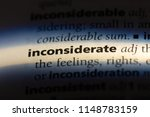 Small photo of inconsiderate word in a dictionary. inconsiderate concept.