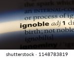 Small photo of ignoble word in a dictionary. ignoble concept.